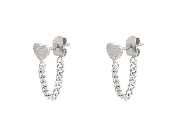 Earring- Heart & Chain Silver