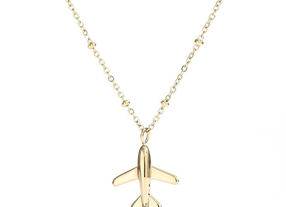 Necklace- Gold Airplane