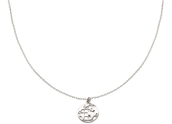 Necklace- Silver Around the globe