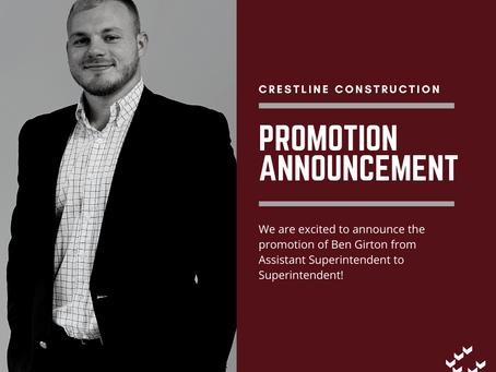 Team News: Ben's Promotion