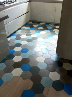 Mosaico de pasta hexagonal.