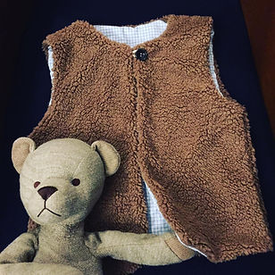 Gilet femme enfant fourré teddy liberty sur mesure cousu main France vêtement tissu au choix