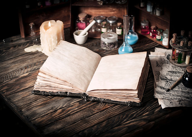 Old witch book with empty pages, lavende