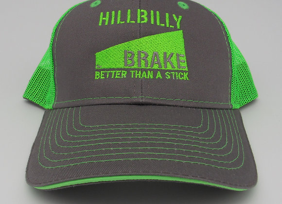 Hillbilly Brake Washed Cotton Twill Hat - Charcoal/Neon Green