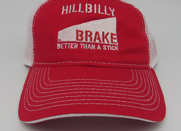 Hillbilly Brake  Heavy Washed Mesh Back Hat - Red/White