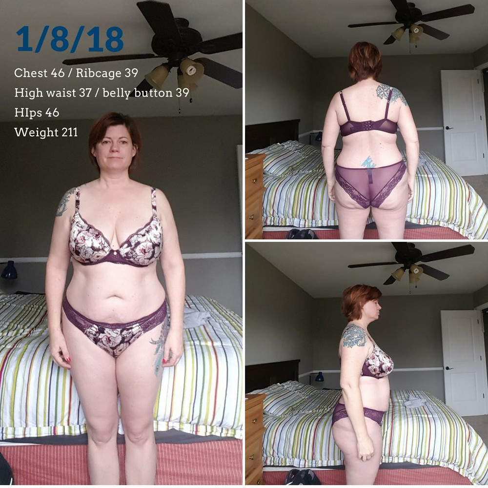 "Woman in ""before"" photos in bra and panty set"