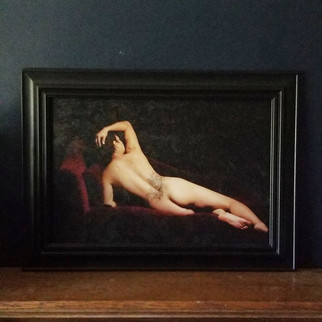 Horizontal boudoir fine art photo on canvas
