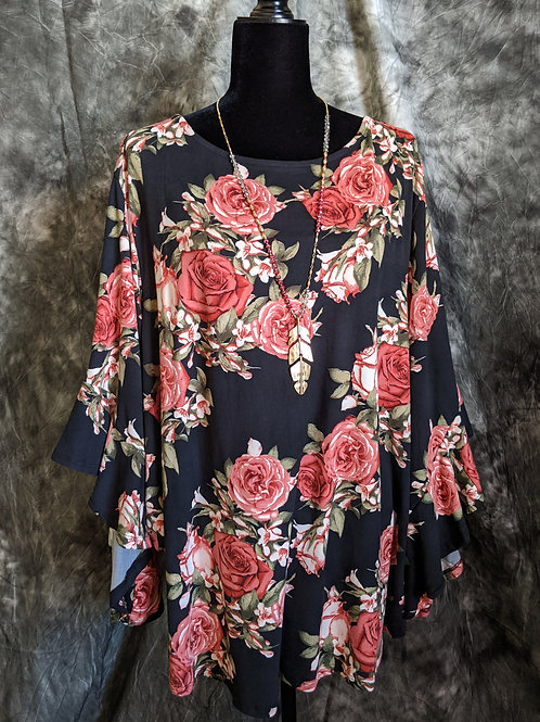 Rose Cascade Sleeve Top