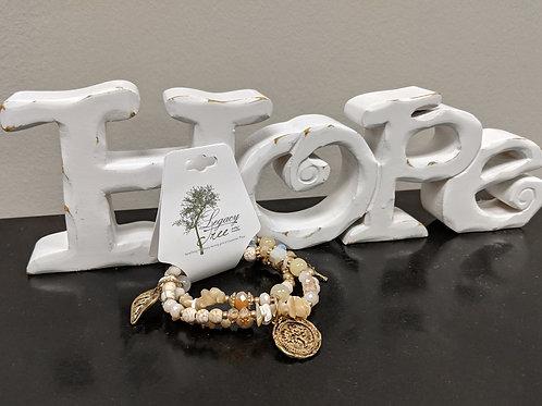 Multi-strand, multi-charm bracelet
