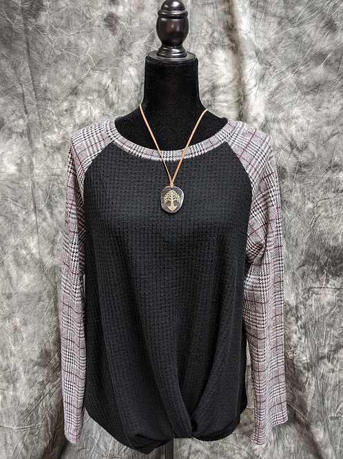 Houndstooth, knot front top