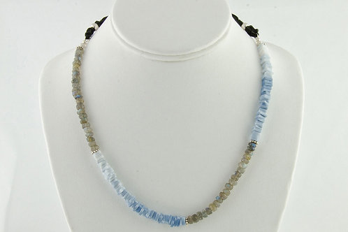 Opal Blue Peruvian and Labradorite Necklace