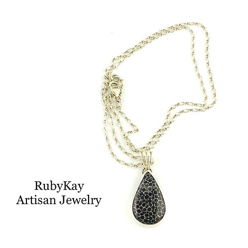 Black Fossil Coral Necklace