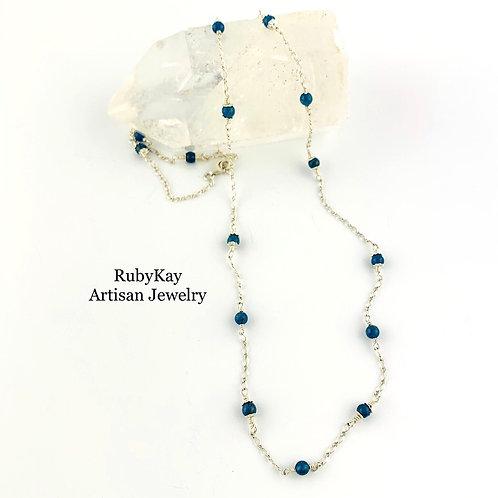 Neon Blue Apatite Chain