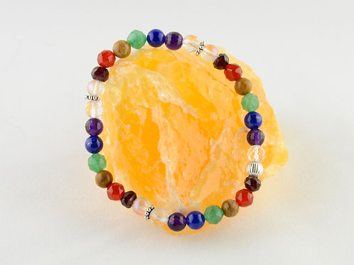 Chakra Bracelet with Sterling Silver Spacer Beads