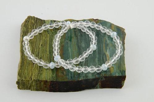 Clear Quartz Crystal Bracelet - Crown Chakra