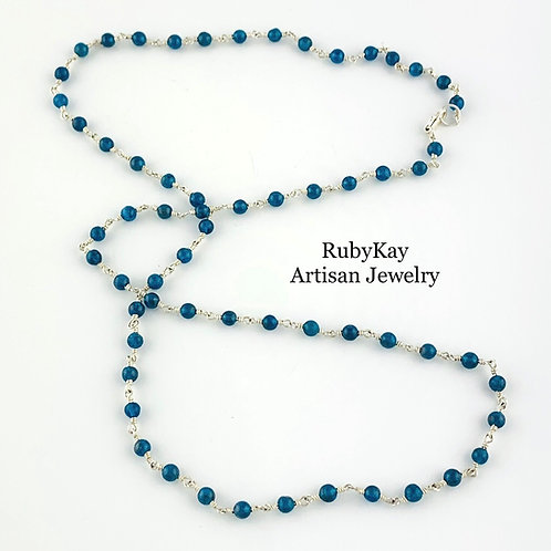 Neon Blue Apatite Bead Necklace