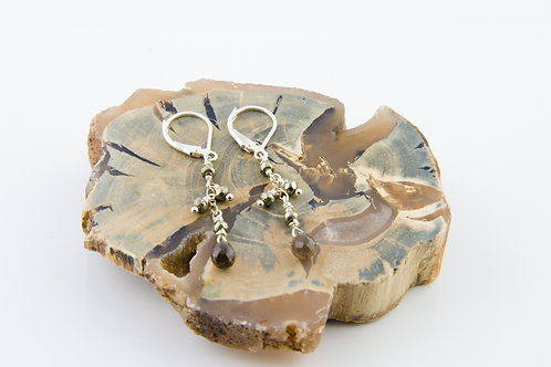 Smoky Quartz and Pyrite Earrings