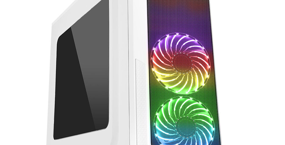 CIT Prism RGB White PC Gaming Case with 2x RGB Fans and USB 3.0