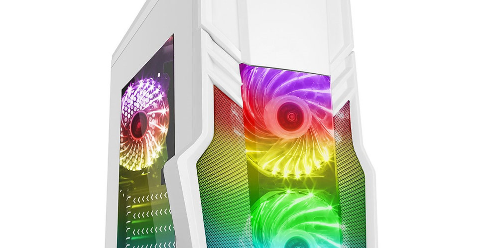 CIT G Force White PC Gaming Case with 3 x RGB Fans & Remote