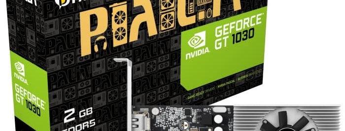 Palit GeForce GT1030, 2GB GDDR5, PCIe3, DVI, HDMI, 1468MHz Clock, Low Profile