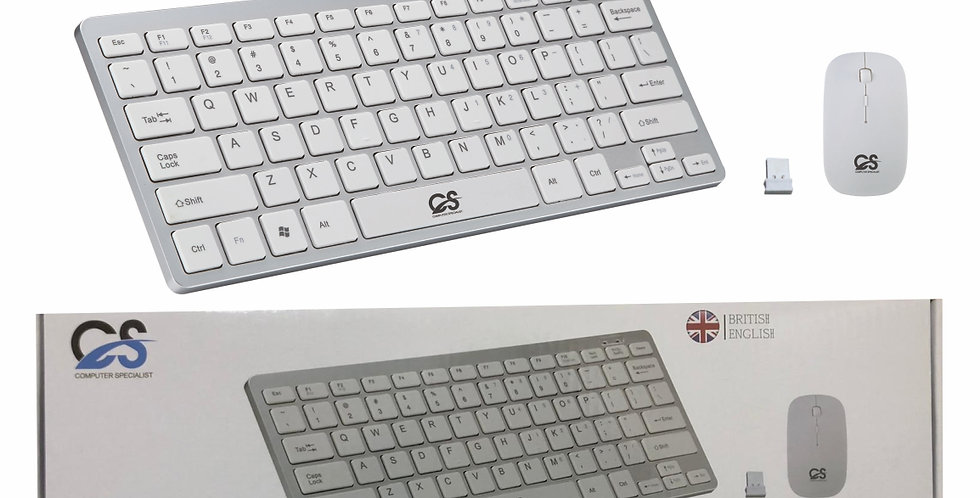 MINI WIRELESS 2.4GHZ WHITE KEYBOARD AND MOUSE COMBO FOR APPLE iMAC MACBOOK PRO