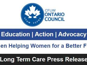 Long Term Care survey results: Press Release CFUW Ontario Council