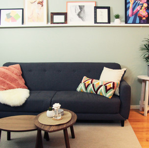 Home styling in Melbourne with modern abstract art by Matejka Interiors. Livingroom area