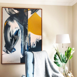 Home styling in Melbourne with modern abstract art by Matejka Interiors. Bedroom