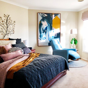 Home styling in Melbourne with modern abstract art by Matejka Interiors. Master Bedroom