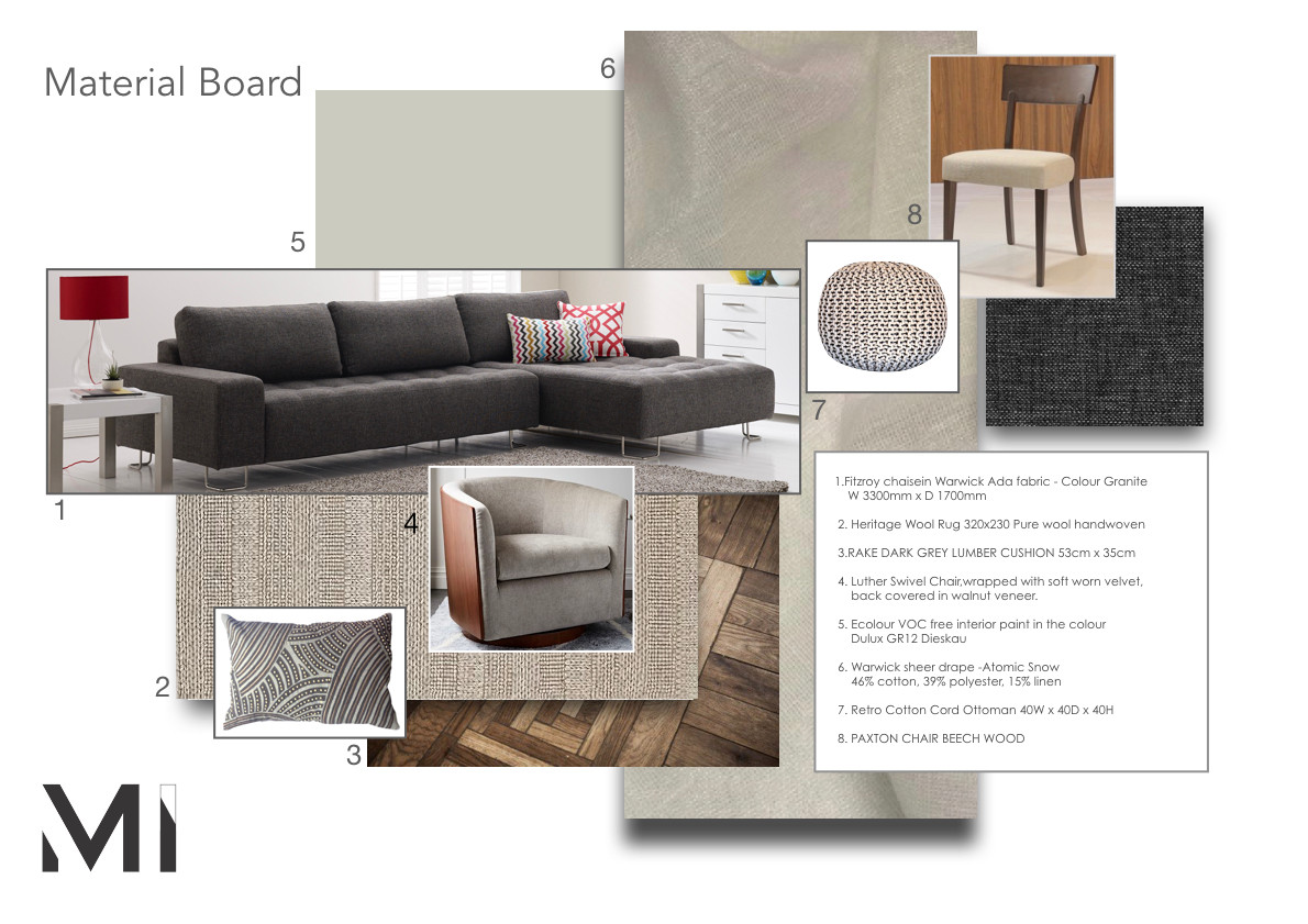 Matejka interiors  Material board for Interior styling in Melbourne with modern abstract art