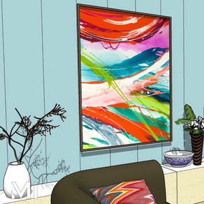 Home styling in Melbourne with modern abstract art by Matejka Interiors. Artwork