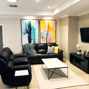 Home styling in Melbourne with modern abstract art by Matejka Interiors. Second Livingroom