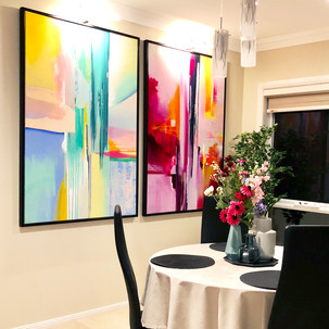 Home styling in Melbourne with modern abstract art by Matejka Interiors. Formal room