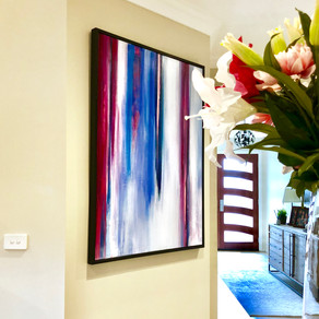 Home styling in Melbourne with modern abstract art by Matejka Interiors. Hallway