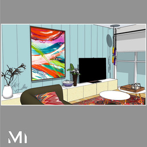 Home styling in Melbourne with modern abstract art by Matejka Interiors. Wall panelling and artwork with a low storage TV unit angle 1