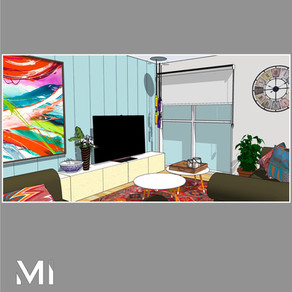 Home styling in Melbourne with modern abstract art by Matejka Interiors. Wall panelling and artwork with a low storage TV unit angle 2