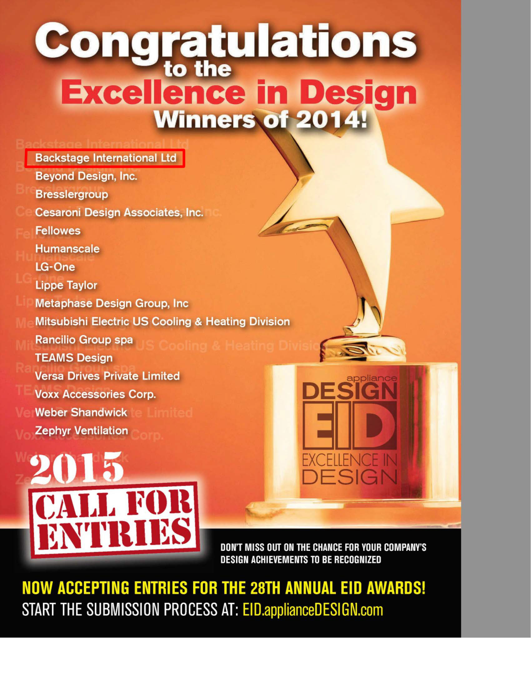EXCELLENCE IN DESIGN BRONZE 2014 2