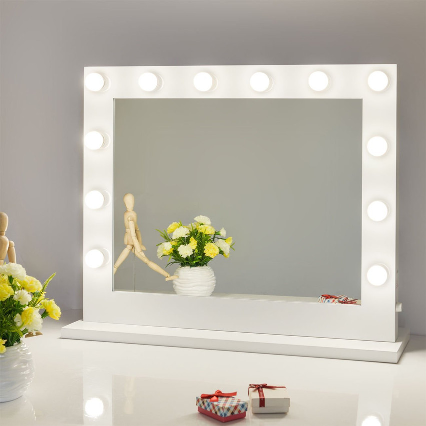Framed Hollywood vanity mirror