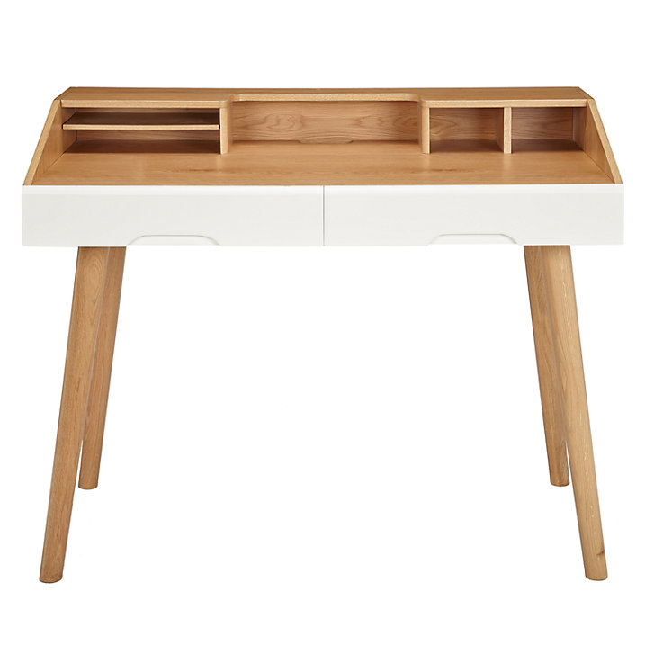 Scandinavian Desk in Brown and White