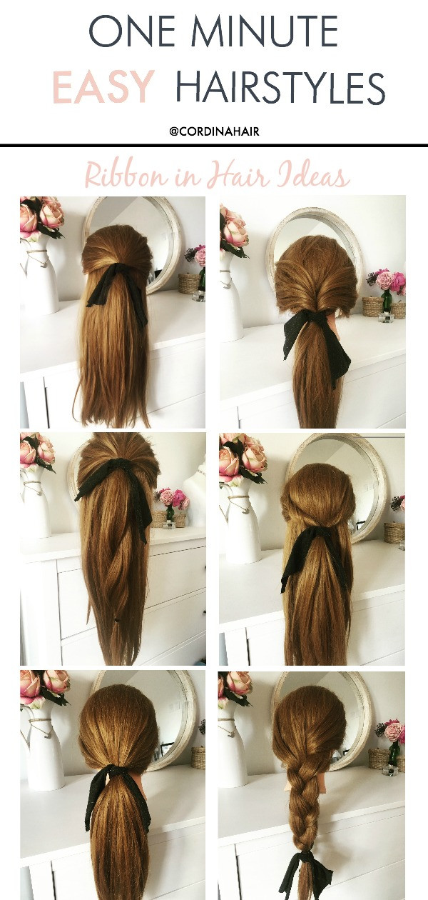 quick and easy hairstyles ideas - ribbon bow in hair