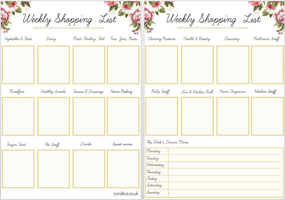 Weekly shopping checklist free printable