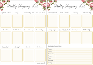 Weekly shopping checklist free printable