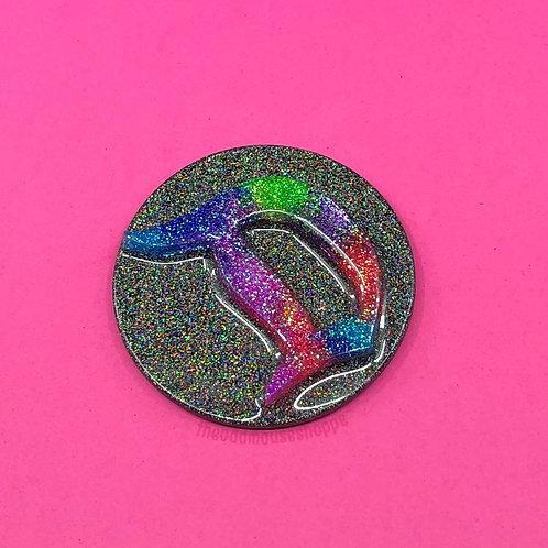 Classic D Rainbow Holo Magnet