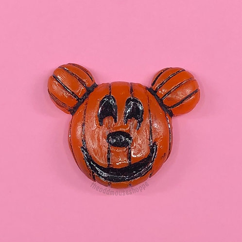 Pumpkin Mouse Dark Orange Brooch