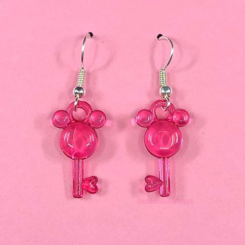 Mouse Earrings Sheer Magenta