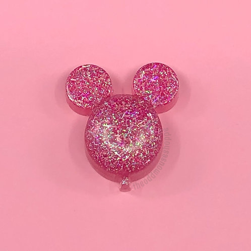 Pink Tinsel Ear Balloon Magnet