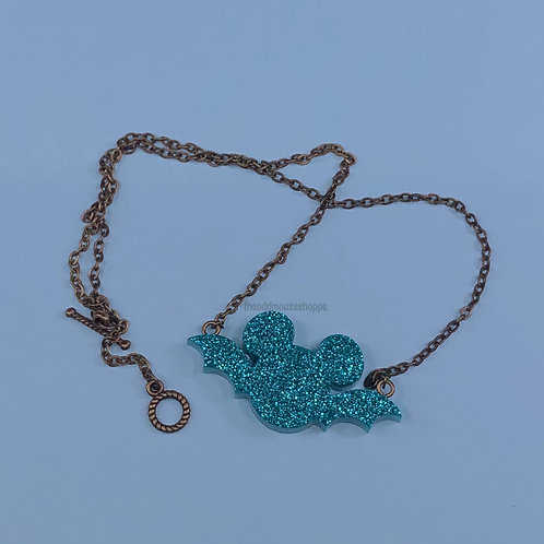 Bat Mouse Teal Glitter Necklace