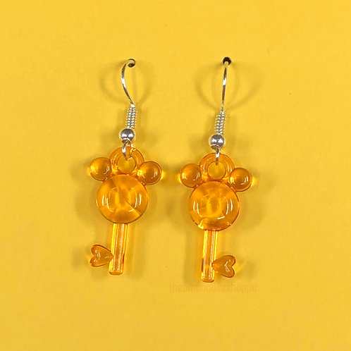 Mouse Earrings Sheer Orange