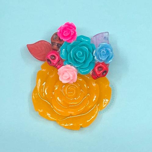 Dia De Los Muertos Yellow Rose Brooch