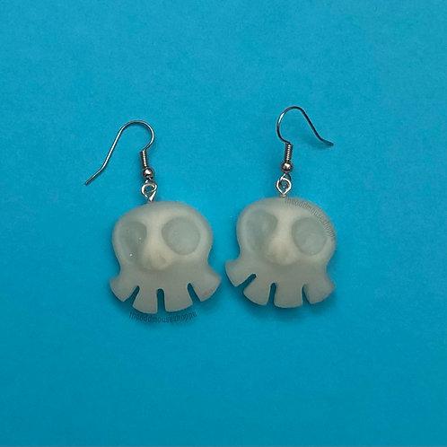 Mini Skull Glow Teal Earrings